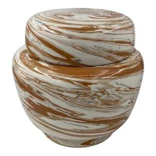 Vintage Marble Design Lidded Ceramic Jar For Sale