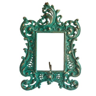 19th Century Baroque Brass Enamel Easel Frame For Sale