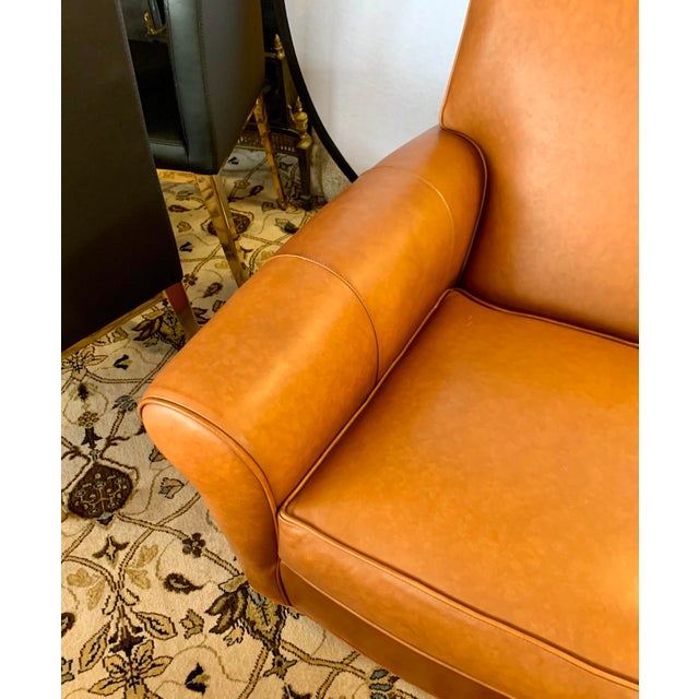 Ethan Allen Brown Leather Club Chair And Ottoman Chairish