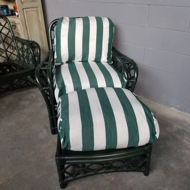 Amazing Ficks Reed Hunter Green Lacquer Lounge Chair and Ottoman Set. The rattan frames have a crisscross trellis design....