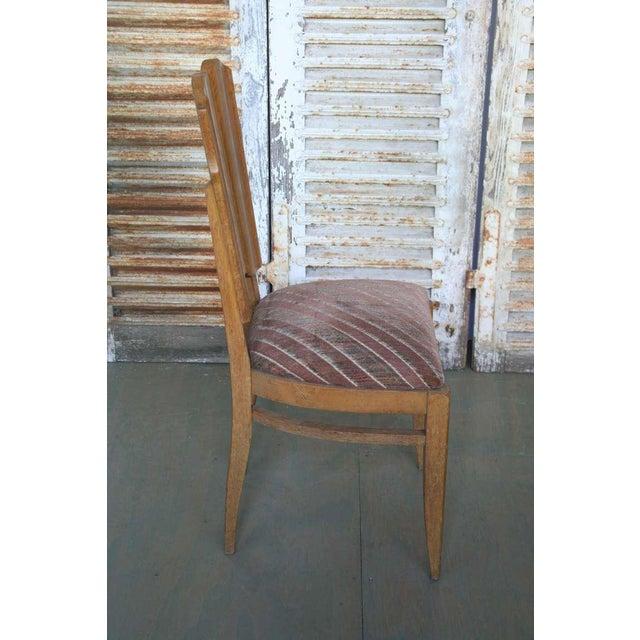 Set of Six Linen Fold Oak Side Chairs - Image 4 of 8