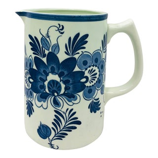 Vintage Hand Painted Blue and White Pitcher For Sale