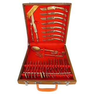 Midcentury Asian Flatware Set with Box For Sale