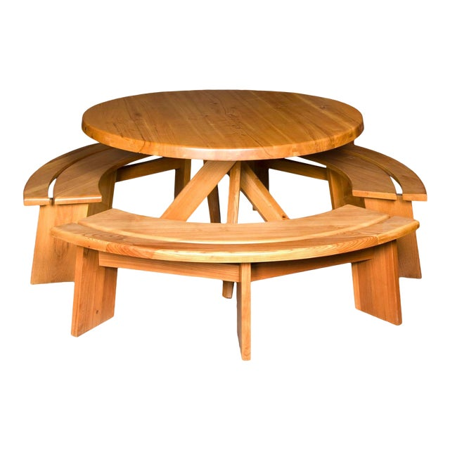 Pierre Chapo Elm Dinig Table and 3 Benches For Sale