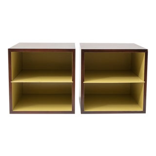 1950's Walnut and Lacquer Storage Cubes For Sale