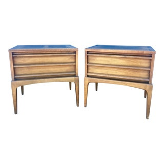 Lane Mid-Century Walnut Nightstands - a Pair