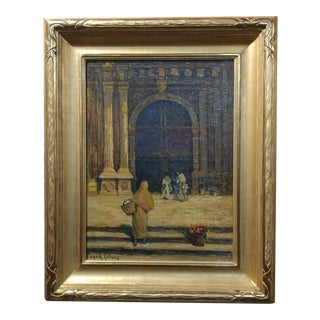 Frank Coburn Spanish Cathedral Steps Oil Painting For Sale