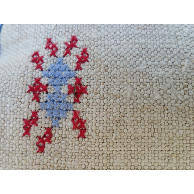 Homespun Embroidered French Grain Sack Neck Pillow - Image 4 of 4
