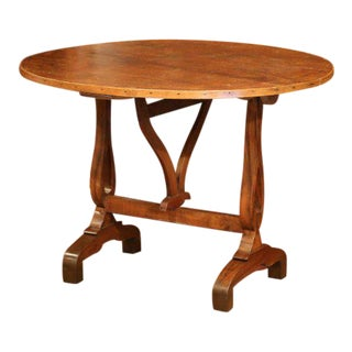 Mid-19th Century French Walnut Round Tilt-Top Wine Tasting Table From Burgundy For Sale