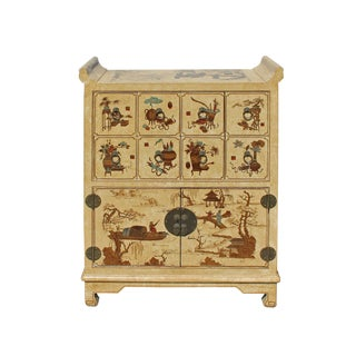Chinese Golden Beige Veneer Print Graphic Side Table Drawers Cabinet