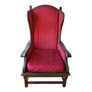 1960s Vintage Red Wingback Chair For Sale