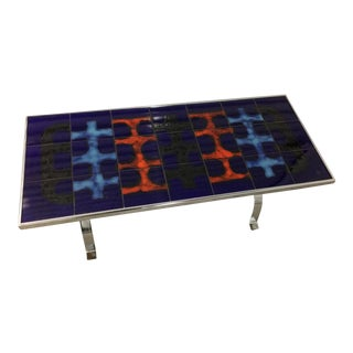 Bold Abstract Painted Ceramic Tile Table For Sale