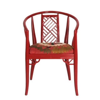 Vintage Mid Century Lacquered Chinoiserie Armchair For Sale