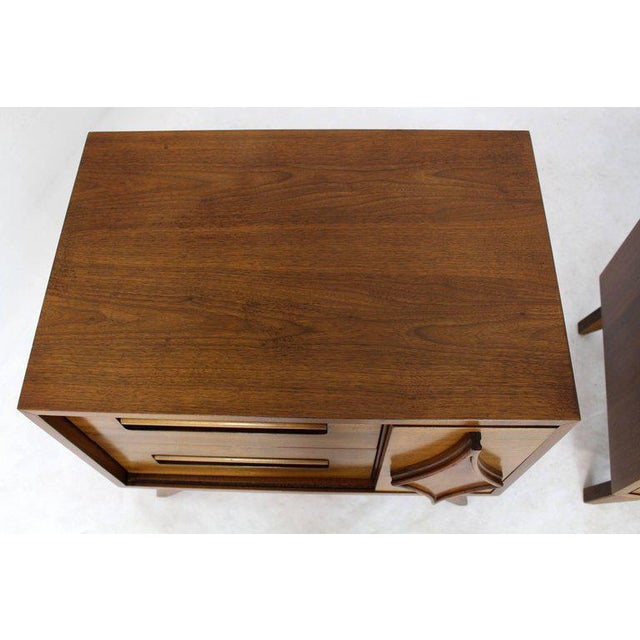 Mid 20th Century Pair of Large Walnut Nightstands End Tables with Small Bookcase For Sale - Image 5 of 9