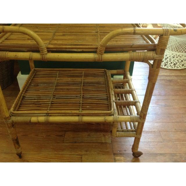 Vintage Rattan Bar Cart - Image 4 of 5