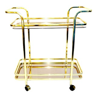Mid-Century Italian Glam Brass Bar Cart