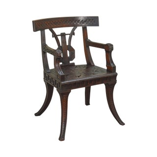 Klismos Style Antique 19th Century Carved Mahogany Arm Chair