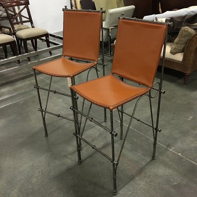 Leather & Rebar Bar Stools - a Pair For Sale - Image 5 of 6