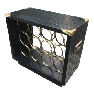 Mid-Century Modern Campaign Brass Accented Wine Rack For Sale