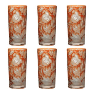 Verdure Highball Glasses, Set of 6, Orange For Sale