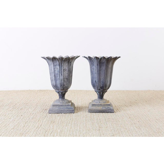 Pair of French Neoclassical Tulip Form Garden Urn Planters For Sale - Image 10 of 13
