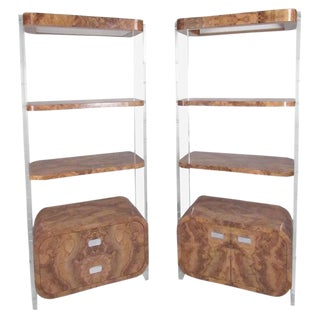 Milo Baughman Style Vintage Mid-Century Modern Shelving Units - A Pair For Sale