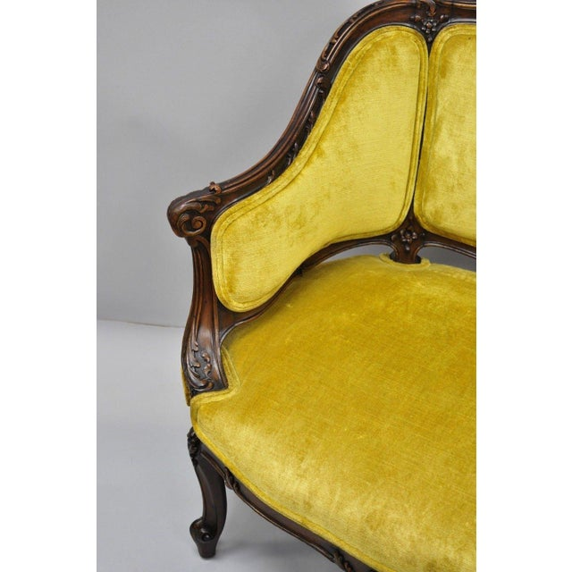 Gold Antique French Louis XV Style Finely Carved Mahogany Settee Loveseat For Sale - Image 8 of 11
