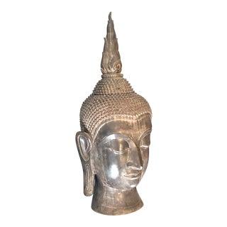 Late 19th Century Antique Bronze Thai Buddha Head For Sale