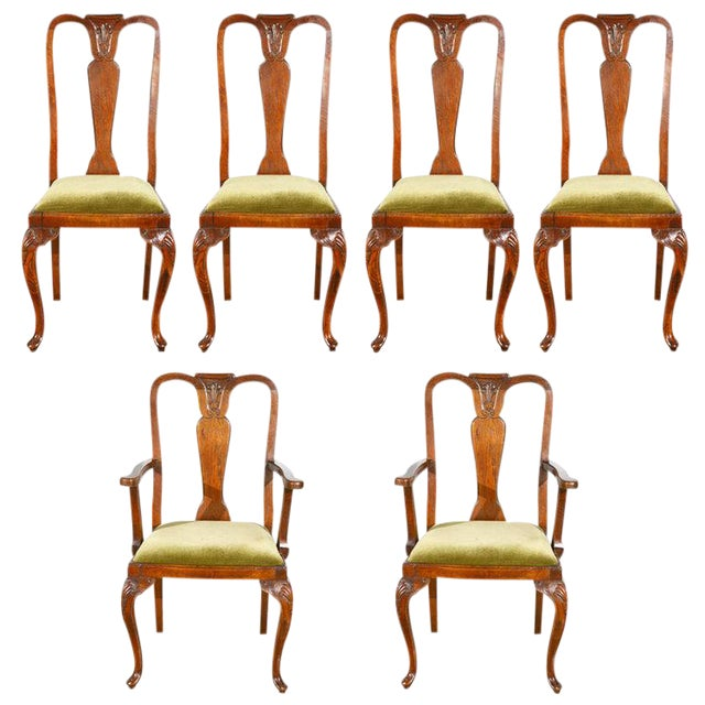 Queen Ann Style Chairs - Set of 6 - Image 1 of 9