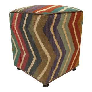 1990s Amberly Purple Brown Kilim Upholstered Handmade Ottoman For Sale