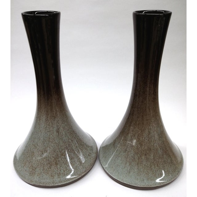 Despite being crafted in 1981, the shape of these artisan vases is so Mid-century chic! Designed by Peter Pots, a...