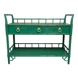 Vintage Thomasville Allegro Faux Bamboo Bar Cart Lacquered in Emerald Green For Sale