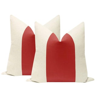 "22"" Rhubarb Velvet Panel & Linen Pillows - a Pair For Sale"