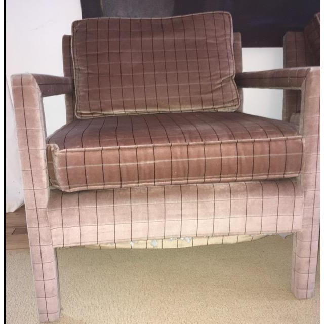 1970s 1970s Vintage Parsons Style Arm Chairs- A Pair For Sale - Image 5 of 13