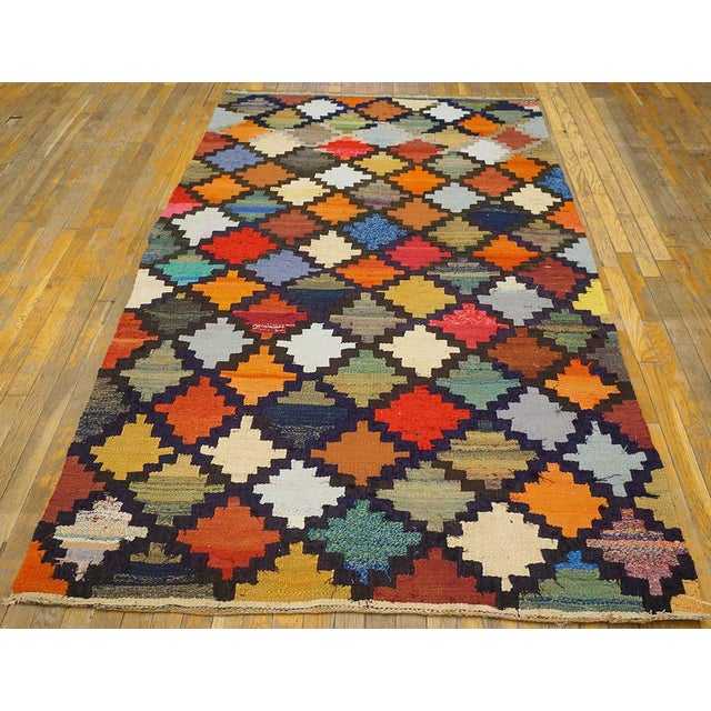 "Vintage Persian kilim 8'0"" x 4'6"", Handmade with recycled fabric."