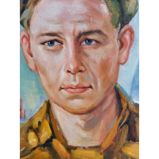 Boho Chic Mid Century Male Oil Portrait For Sale - Image 3 of 7