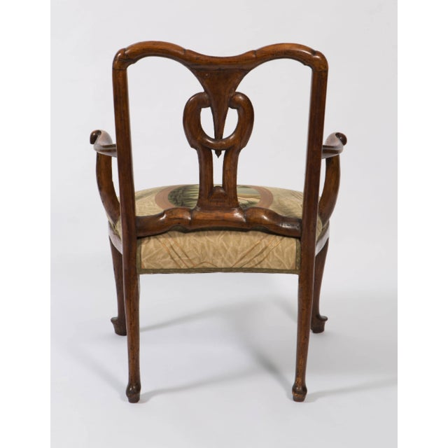 18th Century Vintage Walnut Italian Open Back Armchair For Sale - Image 10 of 13