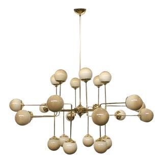 Italian Modern 24-Light Brass & Smoked Ivory Gold Murano Glass Round Chandelier For Sale