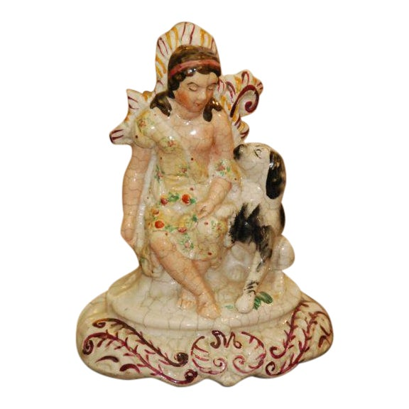English Staffordshire Maiden With Dog - Image 1 of 4