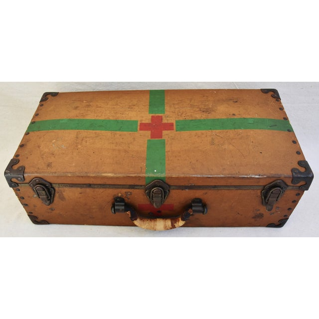 Boho Chic Circa 1940s Military Medical Suitcase w/ Cross For Sale - Image 3 of 11