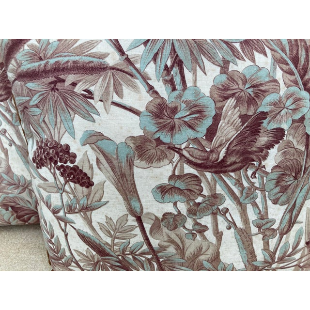 French Country Antique Green & Brown Flora & Fauna Printed Fabric Pillows- a Pair For Sale - Image 3 of 6