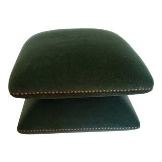 Mid-Century Modern Green Mohair Ottoman For Sale