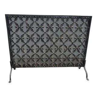 Vintage French Country Black Ornate Fireplace Screen Spanish Style For Sale