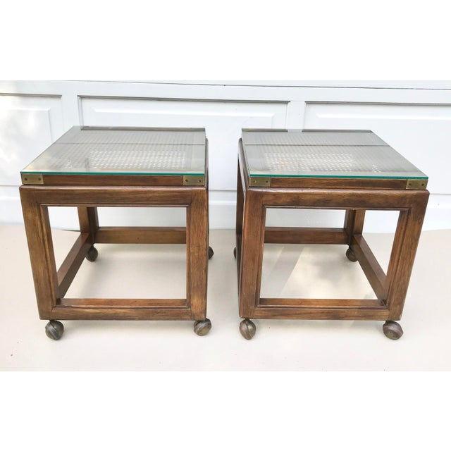 Mid-Century Rolling Cane Tables - a Pair For Sale - Image 5 of 5
