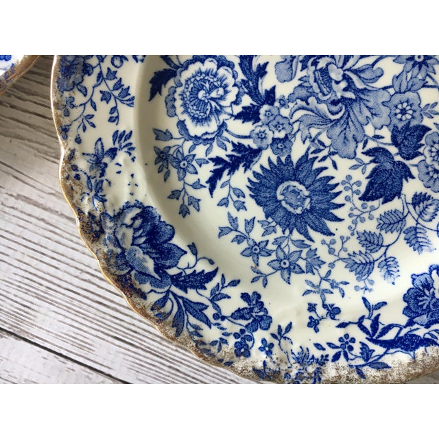 Vintage Blue & White Chintz Transferware Plates - Set of 8 For Sale - Image 4 of 8