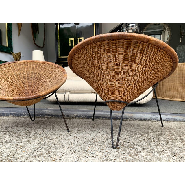 1950s Rattan Basket Armchairs - a Pair For Sale - Image 12 of 13