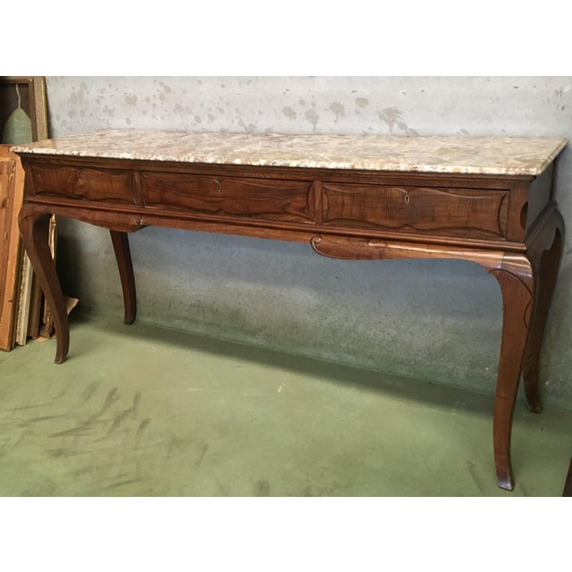 Elegant 19th French Three Drawers Console Table with Top Marble & cabriole legs