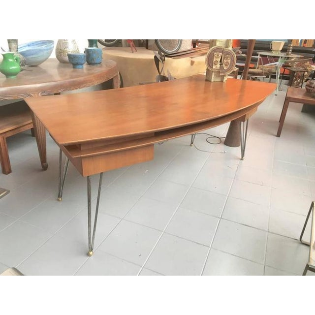 1950s Jean Royère Documented Superb Curved Two Drawers Desk With Metal Legs For Sale - Image 5 of 5