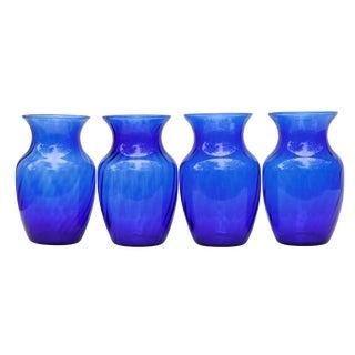 Cobalt Blue Blown Glass Vases - Set of 4 For Sale