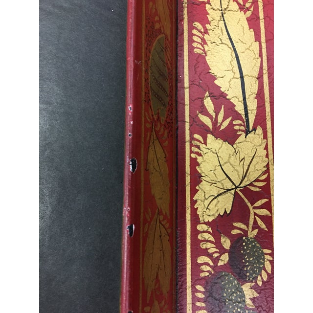 Vintage Tole Tray Red With Gold Stencil Design For Sale In Washington DC - Image 6 of 9
